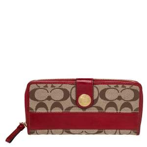 Coach Beige/Red Signature Canvas And Leather Clutch