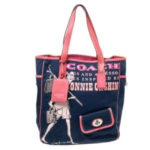Coach Blue/Pink Bonnie Cashin Print Canvas and Leather Tote