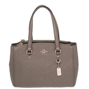 Coach Grey Signature Leather Margot Satchel