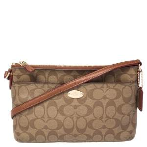 Coach Brown Coated Canvas East/West Pop Up Pouch Crossbody Bag