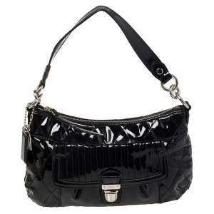 حقيبة هوبو كوتش غروفي كونفيرتيبل جلد لامع أسود مزينة مبطنة