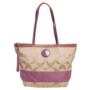Coach Beige/Pink Signature Canvas and Patent Leather Stripe Tote