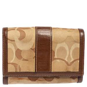 Coach Beige/Brown Signature Canvas and Leather Compact Wallet