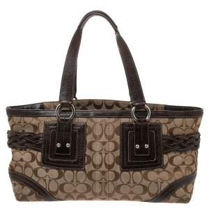 Coach Beige/Brown Signature Canvas and Leather Braided Buckle Tote