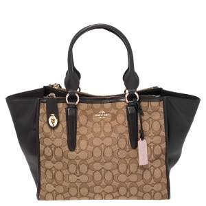 Coach Brown/Beige Signature Canvas and Leather Crosby Carryall Tote