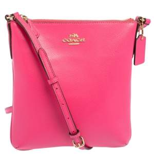 Coach Pink Grain Leather North/South Crossbody Bag