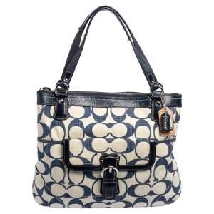 حقيبة يد توتس كوتش كروسهاتش كانفاس بالشعار حرف سي أزرق كحلي