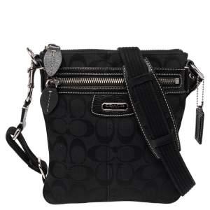 Coach Black Signature Canvas and Leather Penelope Swingpack Messenger Bag