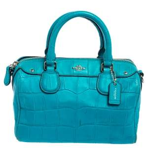 Coach Turquoise Croc Embossed Leather Baby Bennett Satchel