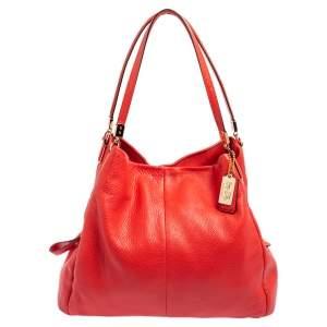 Coach Orange Leather Phoebe Madison Shoulder Bag