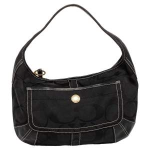 Coach Black Monogram Canvas And Leather Hobo
