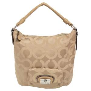 Coach Beige Signature Canvas And Leather Hobo