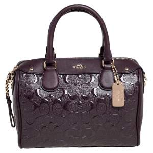 Coach Chocolate Brown Signature Embossed Patent and Leather Mini Bennett Satchel