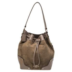 Coach Beige/Taupe Suede And Leather Drawstring Bucket Bag