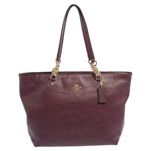 Coach Burgundy Leather Marlie Chain Tote