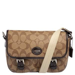 Coach Brown/Beige Signature Coated Canvas and Patent Leather Double Buckle Crossbody Bag