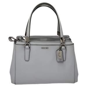 Coach Light Grey Leather Mini Madison Christie Carryall Satchel