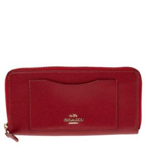 Coach Red Leather Accordion Zip Around Wallet