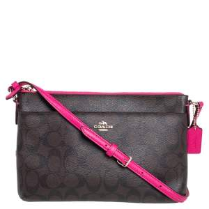 Coach Brown/Pink Signature Coated Canvas and Leather Crossbody Bag
