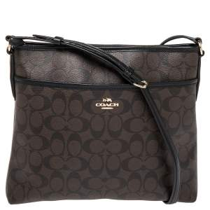 Coach Brown/Black Signature Coated Canvas and Leather Messenger Bag
