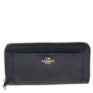 Coach Navy Blue Leather Zip Around Wallet