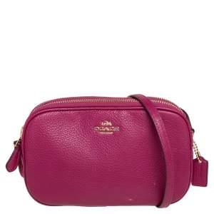 Coach Magenta Pebbled Leather Double Zip Crossbody Bag