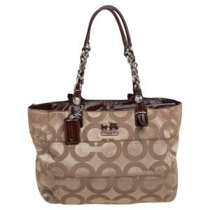 Coach Beige/Brown Op Art Canvas and Patent Leather Tribeca Tote
