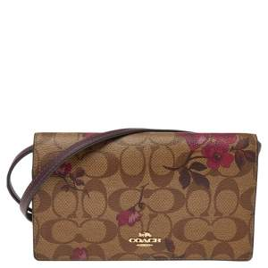 Coach Beige/Burgundy Floral Print Signature Canvas And Leather Hayden Crossbody Clutch