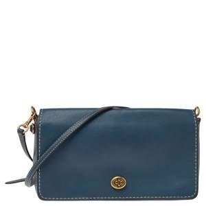 Coach Blue Leather Dinky Flap Crossbody Bag