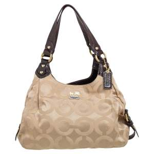 Coach Brown/Beige Signature Canvas and Patent Leather Maggie Shoulder Bag