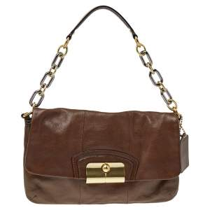 Coach Brown Leather Kristin Flap Shoulder Bag