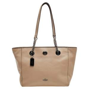 Coach Grey Leather TurnLock Tote