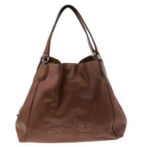 Coach Brown Leather Edie Carriage Shoulder Bag