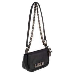 Coach Black Leather Swagger Crossbody Bag