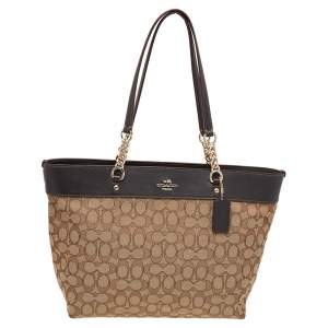 Coach Beige/Brown Signature Canvas and Leather Sophia Chain Tote