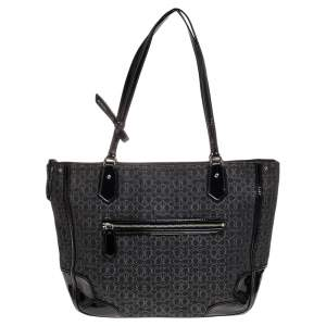 Coach Black Signature Canvas And Patent Leather Poppy Tote