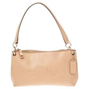 Coach Beige Leather Zip Crossbody Bag