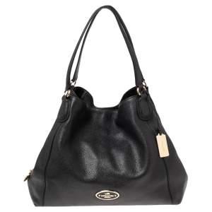 Coach Black Grained Leather Edie Shoulder Bag