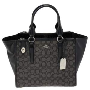 Coach Black Signature Canvas And Leather Crosby Tote