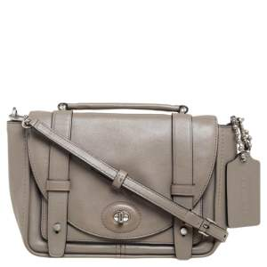 Coach Grey Leather Mini Bleecker Brooklyn Top Handle Bag