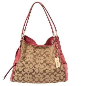 Coach Beige/Red Signature Canvas and Leather Edie Shoulder Bag