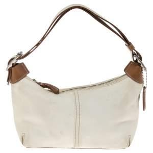 Coach Cream/Brown Leather Shoulder Bag