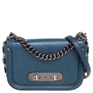 Coach Blue Leather Swagger Shoulder Bag