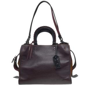 Coach Burgundy/Brown Leather And Suede Whipstitch Rogue 1941 Tote