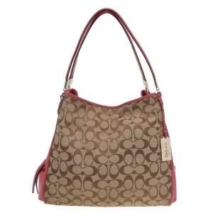 Coach Beige/Pink Signature Canvas And Leather Medium Madison Phoebe Shoulder Bag