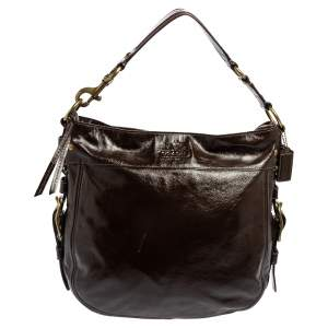 Coach Brown Patent Leather Zoe Hobo