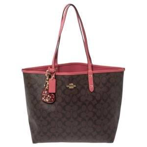 Coach Brown/Old Rose Signature Coated Canvas and Leather Reversible City Tote