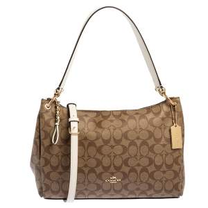 Coach Beige/White Signature Coated Canvas and Leather Mia Shoulder Bag