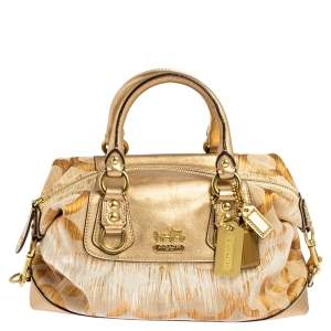 Coach Gold Ombre Signature Op Art Canvas and Leather Madison Sabrina Satchel