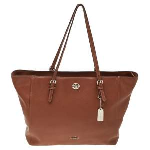 Coach Brown Leather Turnlock Buckle Tote